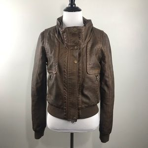 Members Only Size S Brown Vegan Leather Jacket UA